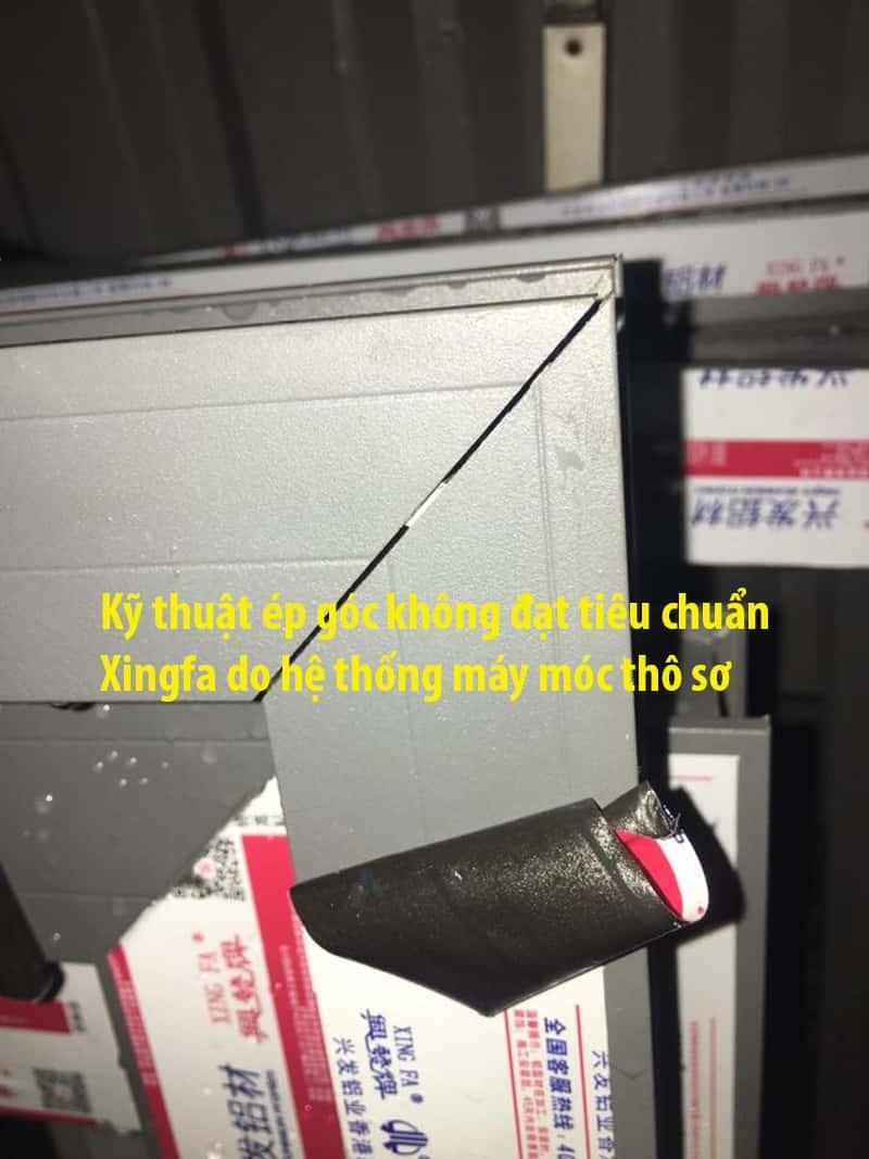 Kỹ thuật ép góc cửa nhôm Xingfa không đạt tiêu chuẩn chất lượng