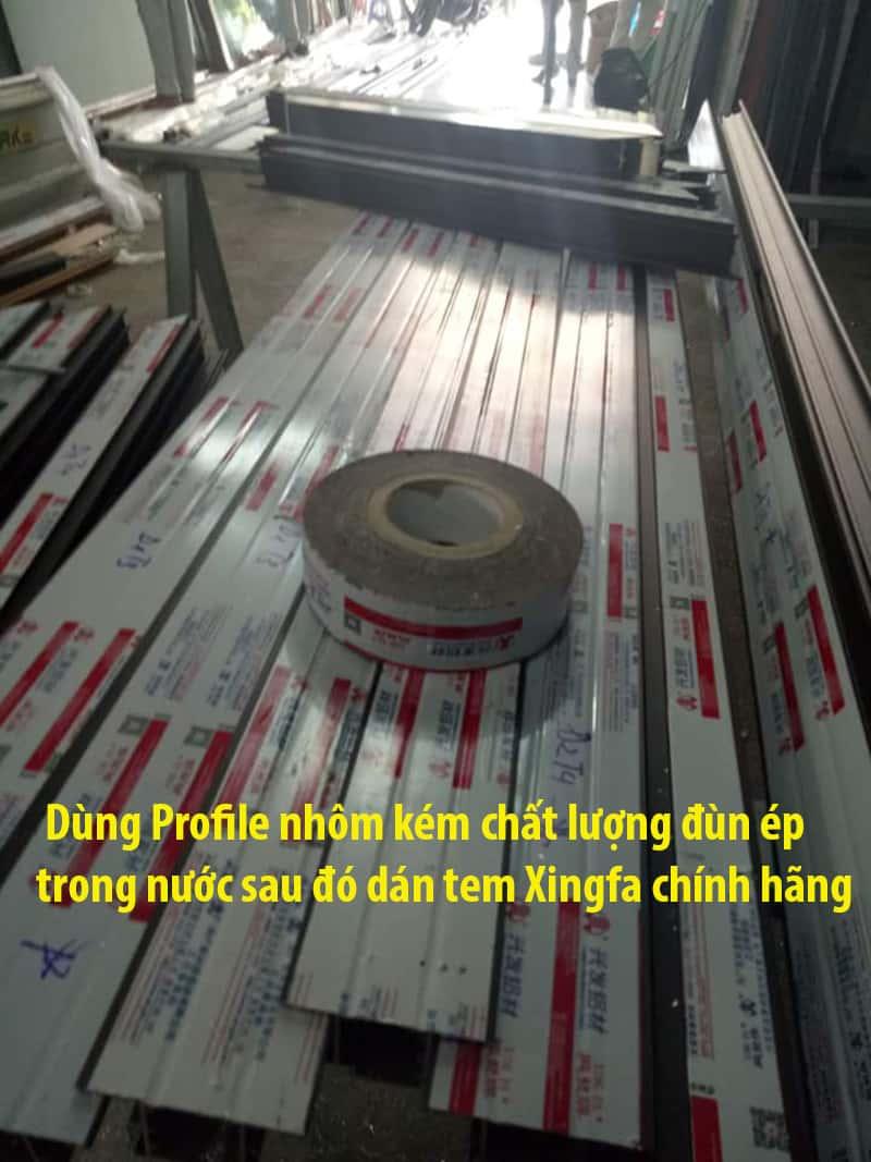 Thanh Profile nhôm nhái giả dán tem các xưởng gia công thuê đang sử dụng tràn lan hiện nay